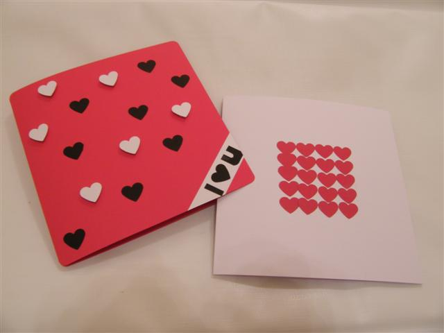 Two sample handmade Valentine's cards.